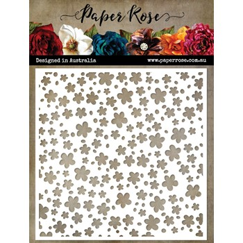 Paper Rose LOTS OF FLOWERS 6x6 Stencil 22579