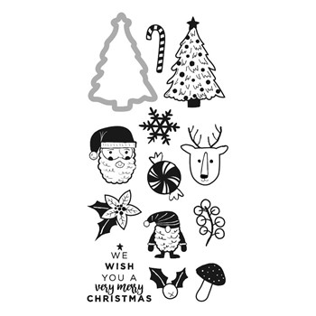 DCWV HOLIDAY CHEER Clear Stamp and Die Set 34007765