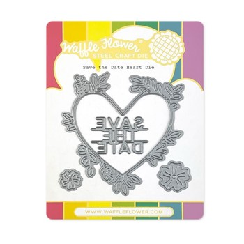 Waffle Flower SAVE THE DATE HEART Dies 420888