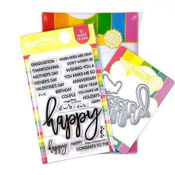 Waffle Flower OVERSIZE HAPPY Clear Stamp and Die Combo WFC881