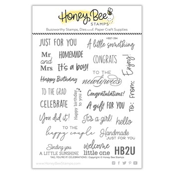 Honey Bee TAG YOU'RE IT CELEBRATIONS Clear Stamp Set hbst394
