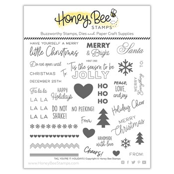 Honey Bee TAG YOU'RE IT HOLIDAYS Clear Stamp Set hbst393