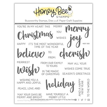 Honey Bee BITTY BUZZWORDS HOLIDAYS Clear Stamp Set hbst383