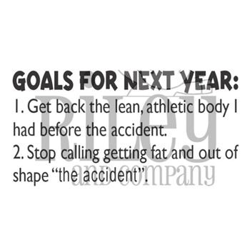 Riley And Company Funny Bones GOALS FOR NEXT YEAR Cling Rubber Stamp RWD-948