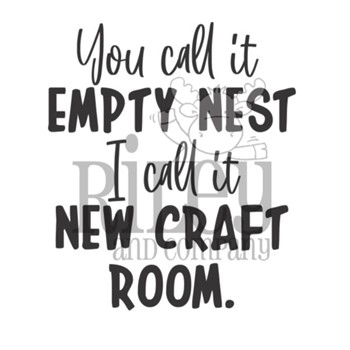 Riley And Company Funny Bones EMPTY NEST Cling Rubber Stamp RWD-954