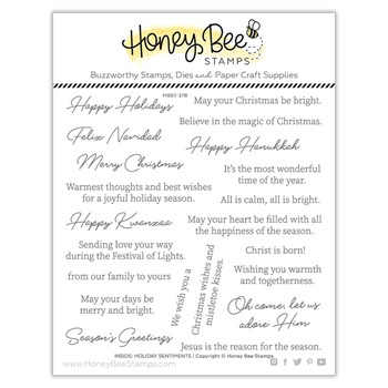 Honey Bee INSIDE HOLIDAY SENTIMENTS Clear Stamp Set hbst378
