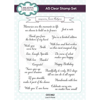 Creative Expressions JUST A NOTE A5 Clear Stamps cec962