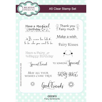 Creative Expressions FAIRY SENTIMENTS A5 Clear Stamps cec972