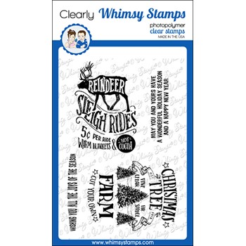 Whimsy Stamps ATC SLEIGH RIDE Clear Stamps CWSD392