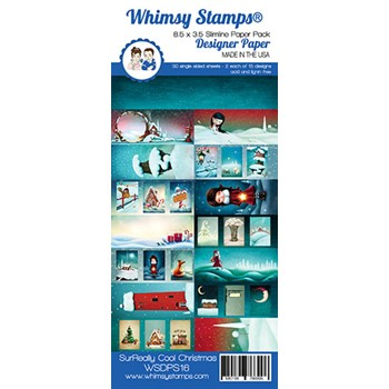Whimsy Stamps SLIMLINE SURREALLY COOL CHRISTMAS 8.5 x 3.5 Paper Pack WSDPS16