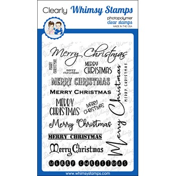Whimsy Stamps SENTIMENT ASSORTMENT MERRY CHRISTMAS Clear Stamps CWSD391