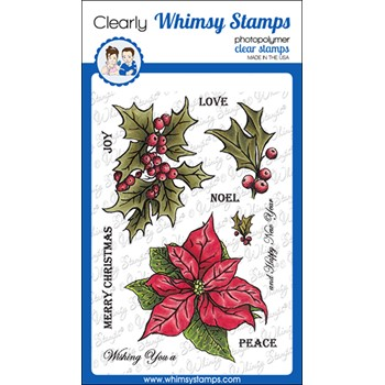 Whimsy Stamps VINTAGE POINSETTIAS Clear Stamps DA1162
