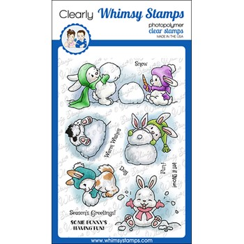 Whimsy Stamps BUNNY WINTER HOLIDAY Clear Stamps C1380