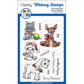 Whimsy Stamps CHRISTMAS CRITTER WISHES Clear Stamps C1379