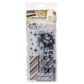 Tim Holtz Clear Stamps and Stencil VINTAGE HOLIDAYS THMM131