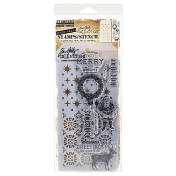 Tim Holtz Clear Stamps and Stencil FESTIVE OVERLAY THMM135