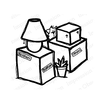 Impression Obsession Cling Stamp MOVING BOXES E21406