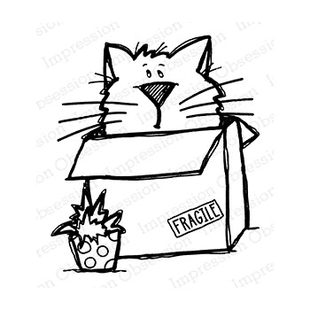 Impression Obsession Cling Stamp FRAGILE KITTY E21405