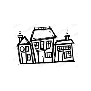 Impression Obsession Cling Stamp ROW HOUSES D21401