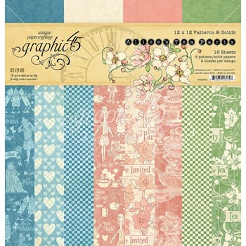 Graphic 45 ALICE'S TEA PARTY 12 x 12 Patterns And Solids Paper Pad g4502360