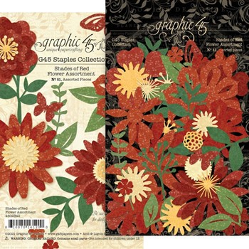 Graphic 45 SHADES OF RED Flower Die Cut Assortment g4502342