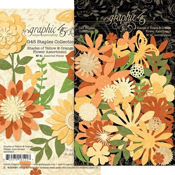 Graphic 45 SHADES OF YELLOW AND ORANGE Flower Die Cut Assortment g4502343