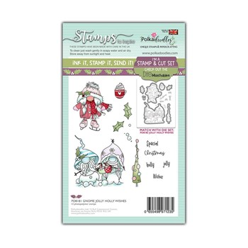 Polkadoodles GNOME JOLLY HOLLY WISHES Matchables Clear Stamps pd8181