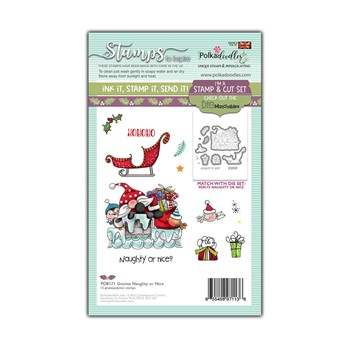 Polkadoodles GNOME NAUGHTY OR NICE Matchables Clear Stamps pd8171