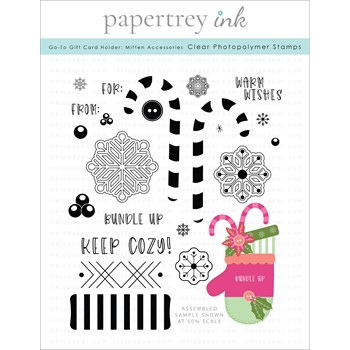 Papertrey Ink GO TO GIFT CARD HOLDER MITTEN ACCESSORIES Clear Stamps 1341