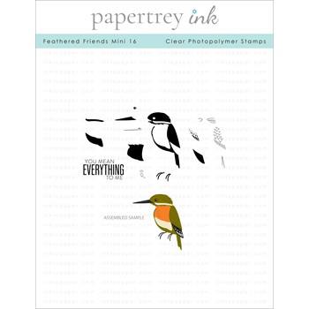Papertrey Ink FEATHERED FRIENDS MINI 16 Clear Stamps 1334