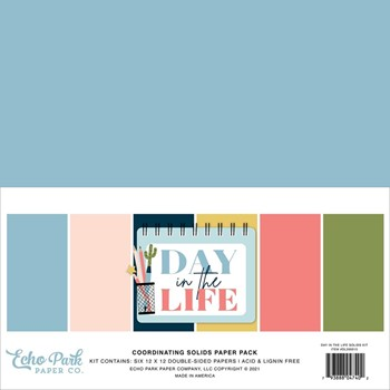 Echo Park DAY IN THE LIFE 12 x 12 Solids Paper Pack dl260015