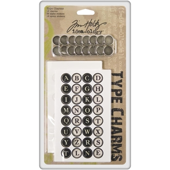 Tim Holtz Idea-ology TYPE CHARMS Keys Alphabet Typewriter Letter  TH92819