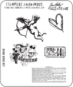 Tim Holtz Cling Rubber Stamps LOVE STRUCK Valentine CMS082
