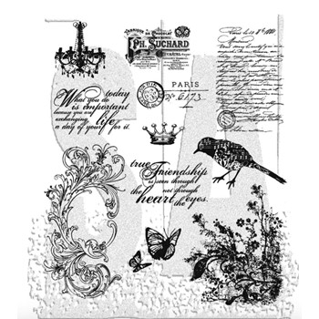 Tim Holtz Cling Rubber Stamps SHABBY FRENCH CMS087