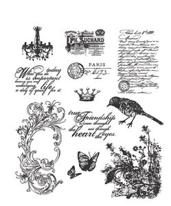 Tim Holtz Cling Rubber Stamps SHABBY FRENCH Stampers Anonymous CMS087 zoom image