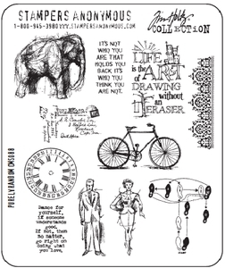 Tim Holtz Cling Rubber Stamps PURELY RANDOM Stampers Anonymous CMS088*