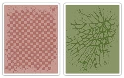 Tim Holtz Sizzix CHECKERBOARD & CRACKED Texture Fades Embossing Folders 656646 zoom image