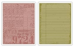 Tim Holtz Sizzix COLLAGE & NOTEBOOK Texture Fades Embossing Folders 656647