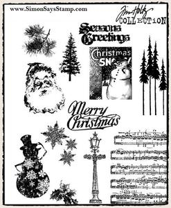 Tim Holtz Cling Rubber Stamps MINI HOLIDAYS 2 cms096 Preview Image