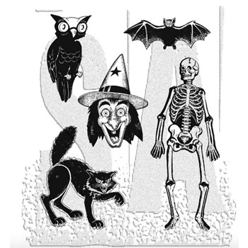 Tim Holtz Cling Rubber Stamps RETRO HALLOWEEN cms092