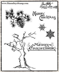 Tim Holtz Cling Rubber Stamps WINTER SKETCHBOOK cms094