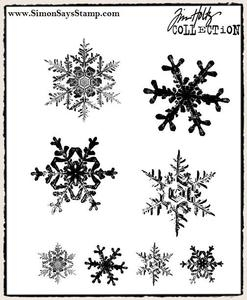 Tim Holtz Cling Rubber Stamps GRUNGE FLAKES cms098 Snowflakes