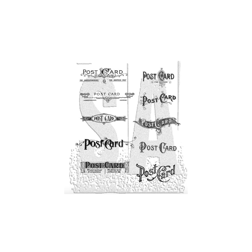 Tim Holtz Cling Rubber Stamps POSTCARDS cms099 zoom image