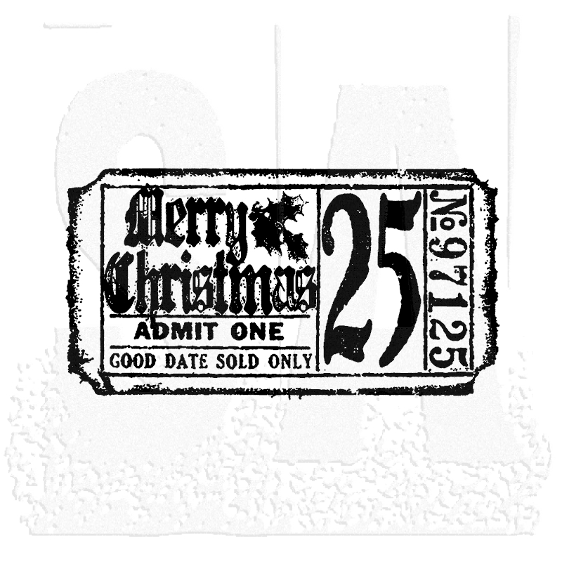 Tim Holtz Rubber Stamp CHRISTMAS TICKET Stampers Anonymous g2-1607 zoom image