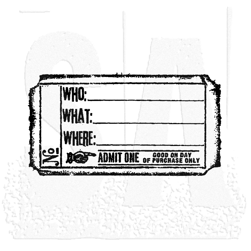 Tim Holtz Rubber Stamp WHO WHAT WHERE TICKET G2-1611 Stampers Anonymous zoom image