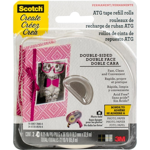 3M Scotch ACID FREE 0.25 Inch x 36 Yard REFILL Advance Tape Glider Rolls CAT085-RAF Preview Image