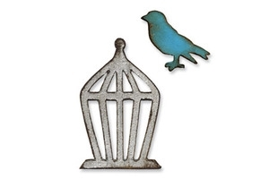 Tim Holtz Sizzix Die MINI BIRD AND CAGE Movers & Shapers Alterations 657207 Preview Image
