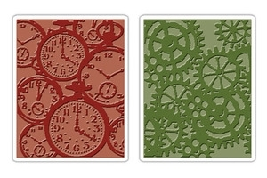 Tim Holtz Sizzix POCKET WATCHES & STEAMPUNK Texture Fades Embossing Folders 657195