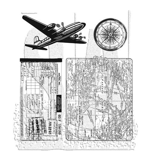 Tim Holtz Cling Rubber Stamps AIR TRAVEL CMS102 Preview Image