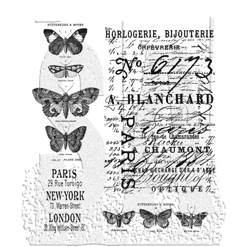 Tim Holtz Cling Rubber Stamps PAPILLON CMS106 Butterfly Preview Image